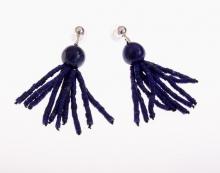 náušnice střapec - lapis lazuli