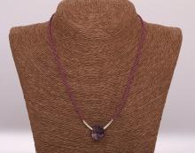 Granát - ručně pletený náhrdelník