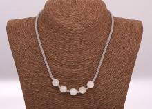 Měsíční kámen - ručně pletený náhrdelník