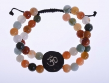 náramek Óm - přírodní barevný jadeit