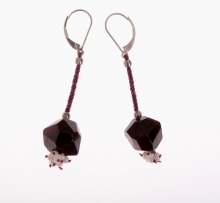 náušnice - granát + perla